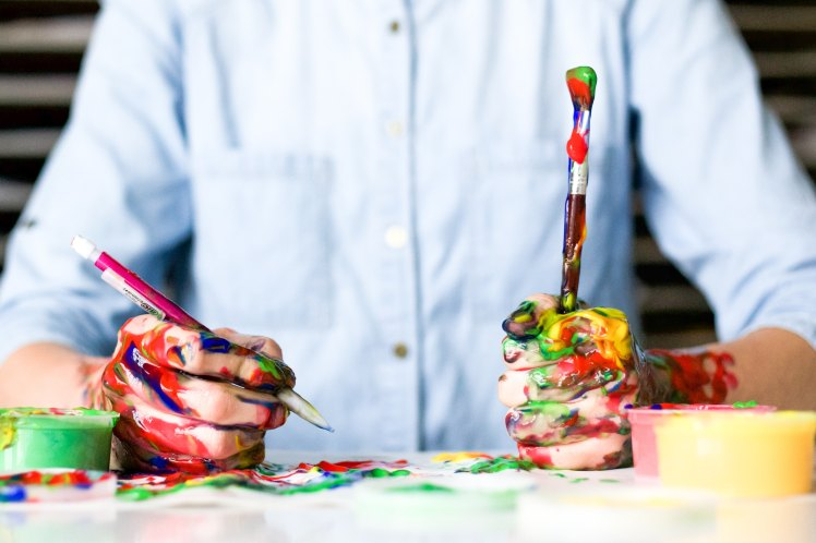 painting, paint, hand, skills, fun, creativity, colors